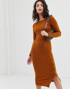 Оранжевое облегающее платье миди с пуговицами River Island - Оранжевый