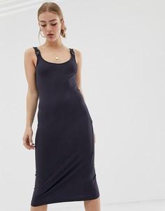 Платье миди в рубчик с пряжкой Noisy May - Черный