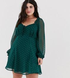 Свободное платье мини молодежного стиля в горошек добби ASOS DESIGN Curve - Зеленый