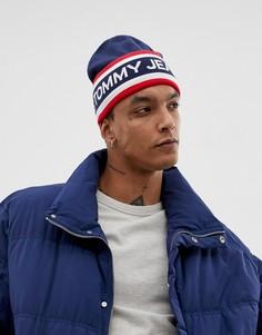 Темно-синяя вязаная шапка-бини с логотипом Tommy Jeans - Темно-синий