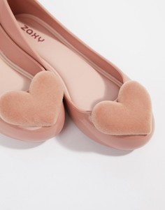 Туфли на плоской подошве с флоковыми сердечками Zaxy valentines - Розовый