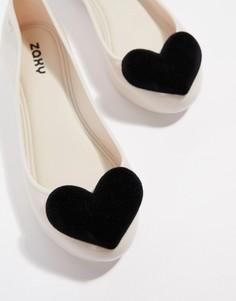 Туфли на плоской подошве с флоковыми сердечками Zaxy valentines - Кремовый
