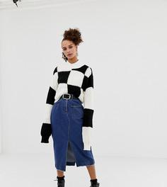 Синяя джинсовая юбка миди COLLUSION - Синий