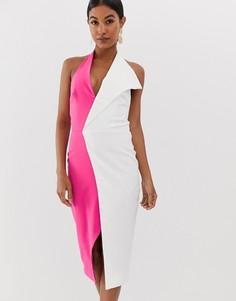 Платье миди розового и белого цвета с халтером Lavish Alice - Мульти