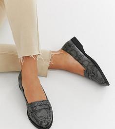 Серые туфли на плоской подошве для широкой стопы со змеиным рисунком ASOS DESIGN Minny - Мульти