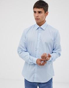 Облегающая светло-синяя рубашка с принтом Esprit - Синий
