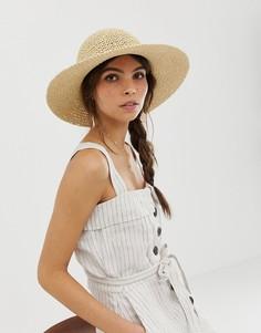 Соломенная шляпа в стиле кроше с узкими полями ASOS DESIGN - Коричневый