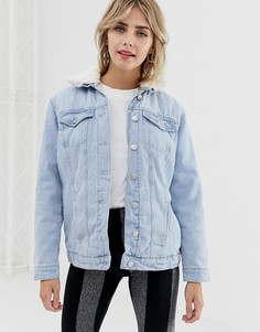 Джинсовая куртка с подкладкой из искусственного меха New Look - Синий