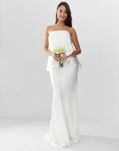 Атласное платье бандо со шлейфом ASOS EDITION - Белый