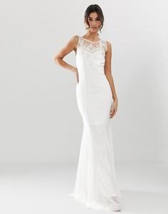 Свадебное платье макси с подолом годе и декоративной отделкой City Goddess - Белый