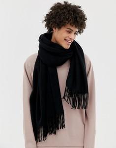 Черный широкий шарф из 100% шерсти ASOS WHITE - Черный