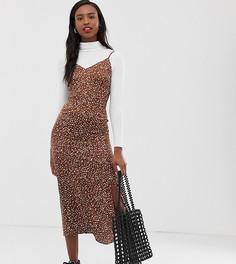 Платье-комбинация миди в горошек Glamorous Tall - Коричневый