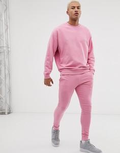 Розовый спортивный костюм из oversize-свитшота и облегающих джоггеров ASOS DESIGN - Розовый