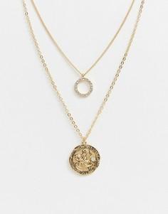 Золотистое ожерелье-цепочка в несколько рядов с круглой подвеской и подвеской-медальоном Monki - Золотой