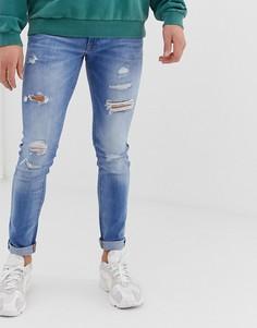 Голубые джинсы скинни с рваной отделкой Jack & Jones - Синий