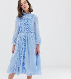 Платье миди в клетку с пуговицами и оборками Sister Jane - Синий
