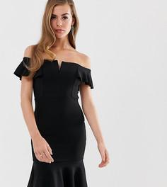 c9251dedb6c Черное облегающее платье миди с открытыми плечами и оборкой Boohoo - Черный