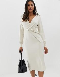 Платье-футляр миди с перекрученной отделкой ASOS DESIGN - Серый