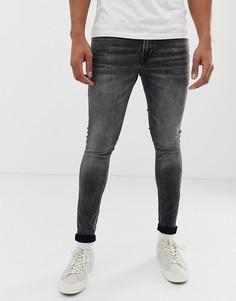 Выбеленные черные джинсы скинни Jack & Jones - Черный