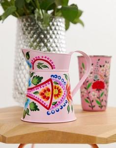 Раскрашенный вручную розовый небольшой кувшин-ваза Ian Snow - Мульти