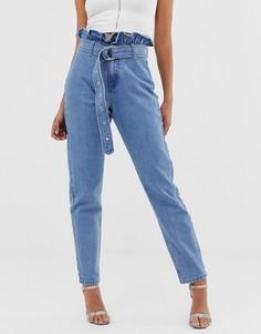 Выбеленные джинсы в винтажном стиле с отделкой на поясе Missguided - Синий