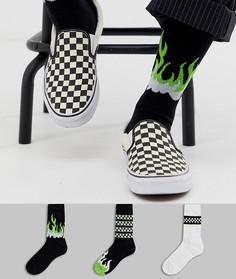 Набор спортивных носков с узором языков пламени флуоресцентного оттенка ASOS DESIGN - 3 шт. - Мульти