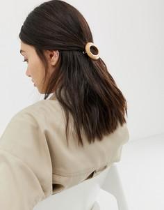 Круглая заколка для волос под дерево ASOS DESIGN - Коричневый