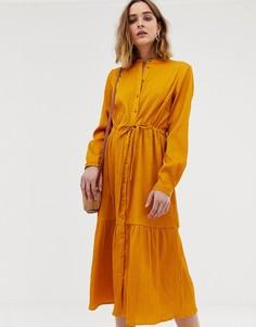 Платье-рубашка миди со сборками на талии Pieces - Желтый