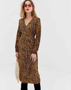 Платье миди с запахом и принтом зебры Pieces - Мульти