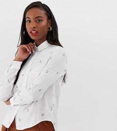 Oversize-рубашка бойфренда с цветочной вышивкой Glamorous Tall - Белый