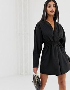 Черное платье-рубашка мини со сборками PrettyLittleThing - Черный