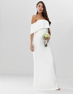 Креповое свадебное платье-футляр с открытыми плечами ASOS EDITION - Белый