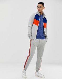 Серая спортивная куртка в стиле колор блок Tom Tailor - Серый