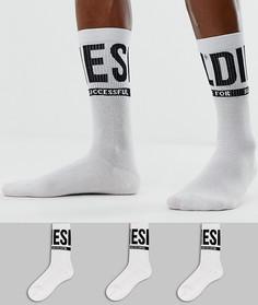 3 пары белых носков с большим логотипом Diesel - Белый