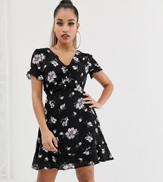 Черное чайное платье с цветочным принтом и завязкой Missguided Petite - Мульти