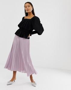 Сиреневая плиссированная юбка миди New Look - Фиолетовый