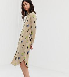 Бежевое платье-рубашка миди с принтом Monki - Бежевый