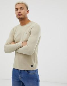 Бежевый вязаный джемпер с карманом Blend - Бежевый