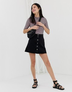 Черная юбка-трапеция на пуговицах Monki - Черный
