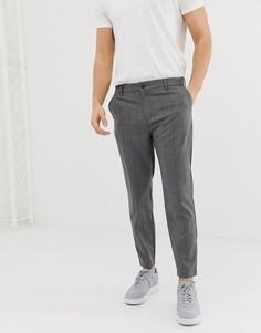 Серые облегающие брюки в клетку Bershka - Серый