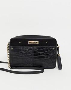 0cb59f129faca Черная сумка через плечо с эффектом крокодиловой кожи River Island - Черный