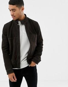 Черная кожаная куртка с перфорацией BOSS - Коричневый
