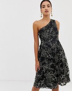 Платье миди на одно плечо Dolly & Delicious - Черный