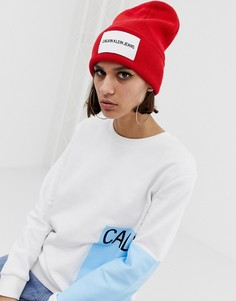 Шапка-бини с логотипом Calvin Klein Jeans - Красный