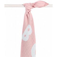 Муслиновая простынка-полотенце Jollein, розовая, XL 140x200 см