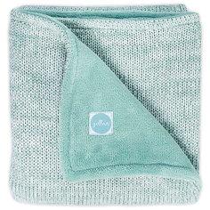 "Вязаный плед с мехом Jollein ""Melange knit"" soft green, 75х100 см"