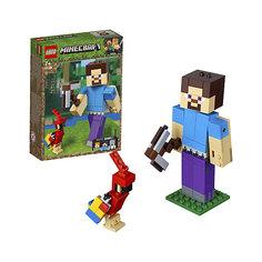 Конструктор LEGO Minecraft 21148: Большие фигурки, Стив с попугаем