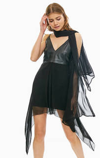 Короткое платье из вискозы с кожаной вставкой Patrizia Pepe