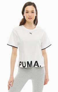 Белая хлопковая футболка с принтом Puma