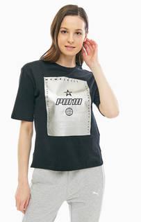 Хлопковая футболка с контрастным принтом Puma